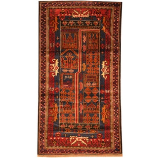 Herat Oriental Afghan Hand-knotted Tribal Balouchi Wool Rug (2'8 x 5'1)