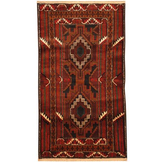Herat Oriental Afghan Hand-knotted Tribal Balouchi Wool Rug (2'8 x 5')