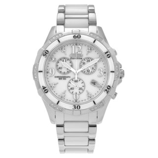 Citizen Women's FB1230-50A 'Eco-Drive' Stainless Steel Ceramic Diamond Accent Chronograph Watch