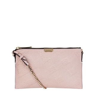 Burberry Peyton Pink Leather Check Crossbody Handbag