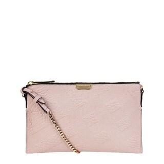 Burberry Peyton Pink Leather Check Crossbody Handbag