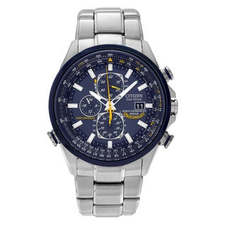 Citizen Men's AT8020-54L 'Blue Angels' Stainless Steel Chronograph Link Watch