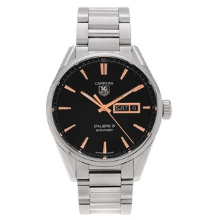 Tag Heuer Men's WAR201C.BA0723 'Carrera' Stainless Steel Black Dial Bracelet Watch