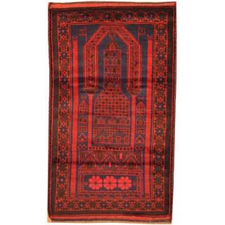 Herat Oriental Afghan Hand-knotted Tribal Balouchi Wool Rug (2'10 x 5')