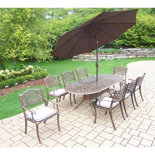 Dakota Outdoor Patio Dining Set with Table, 8 Chairs, 9 ft Brown Umbrella and Stand