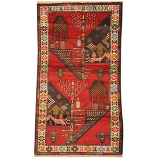Herat Oriental Afghan Hand-knotted Tribal Balouchi Wool Rug (2'8 x 4'10)