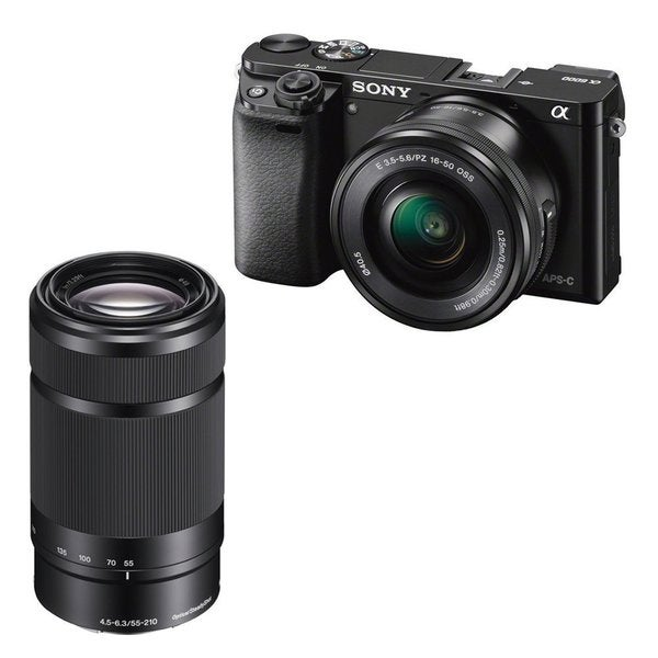 Sony Alpha a6000 24.3 Megapixel Mirrorless Interchangeable Lens Digital Camera with 2-Lens (Black) Bundle 22562697