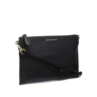 Burberry Peyton Black Perforated Leather Crossbody Handbag