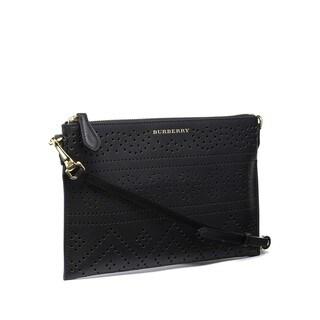 Burberry Peyton Black Perforated Leather Crossbody Handbag