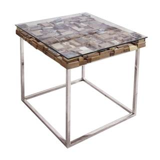 Modern Life Manchester Brown Stainless Steel End Table|https://ak1.ostkcdn.com/images/products/13620841/P20291760.jpg?impolicy=medium