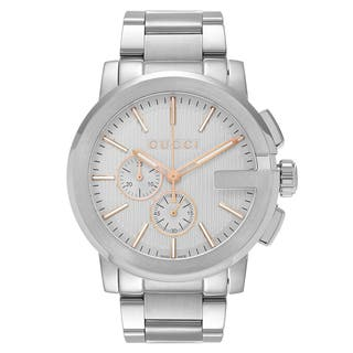 Gucci Men's 'G-Chrono' YA101201 Silver Dial Stainless Steel Bracelet Watch|https://ak1.ostkcdn.com/images/products/13620849/P20291790.jpg?impolicy=medium