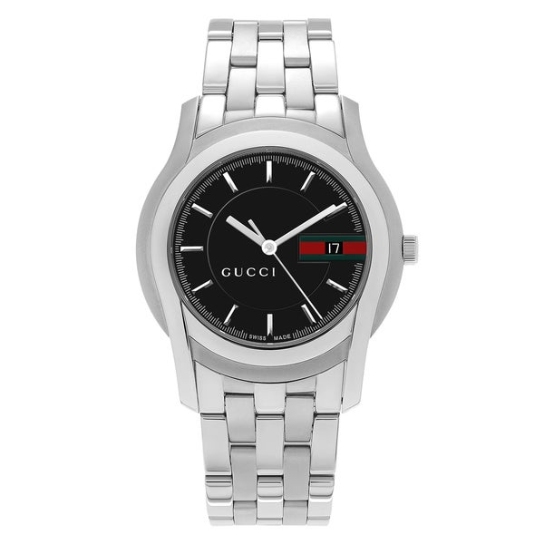 5fa6b35756b Shop Gucci Men s YA055202  5500 XL  Black Dial Stainless Steel ...