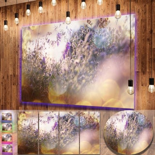 Designart 'Summer Pasture with Purple Flowers' Extra Large Landscape Aluminium Art Print
