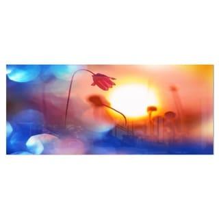 Designart 'Beautiful Blurred Flowers At Sunset' Floral Metal Wall Art