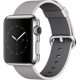 Apple Watch 38mm Smartwatch (2015, Stainless Steel Case, Pearl Woven Nylon Band)