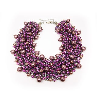 Elegant Purple Freshwater Pearl, Crystal and Bead Collared Cluster Statement Necklace (Thailand)