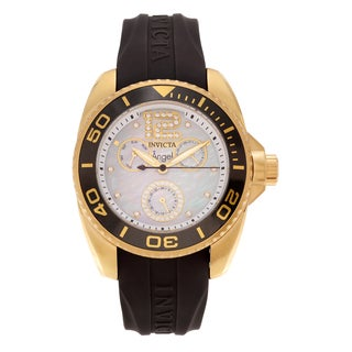 Invicta Women's 'Angel' 21704 Goldplated Cubic Zirconia Silicone Strap Watch