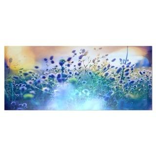 Designart 'Blue Summer Flowers on Meadow' Floral Aluminium Art Print
