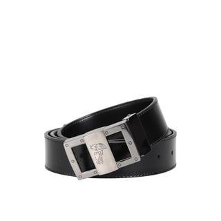 Versace Collection Men's Black Shiny Leather Medusa Buckle Belt