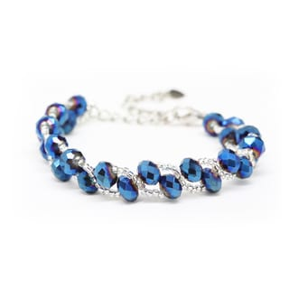 Handmade Woven Blue Crystal and Bead Bracelet (Thailand)
