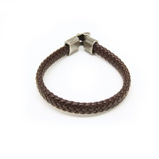 Handmade Brown Braided Leather Bracelet with Silvertone Link Clasp (Thailand)
