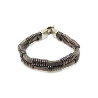 Handmade Black Strap Genuine Leather Bracelet (Thailand)