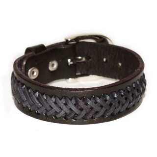 Handmade Belt Buckle Black Braided Genuine Leather Bracelet (Thailand)