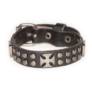 Handmade Belt Buckle Pattee Cross Black Genuine Leather Bracelet (Thailand)