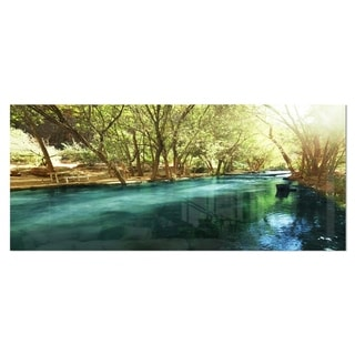 Designart 'Beautiful Small River in Forest' Landscape Metal Wall Art
