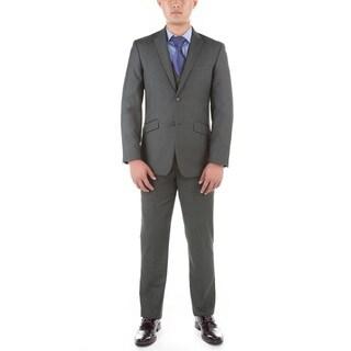 Verno Men's Grey Polyester Medium 3-piece Slim-fit Suit