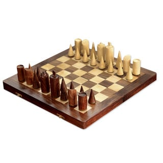 Wood Chess Set, 'Challenge of the Future' (India)