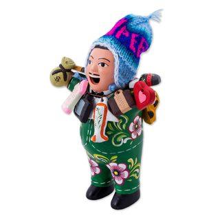 Ceramic Figurine, 'Ekeko of Abundance in Green' (Peru)