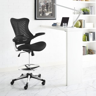 Modway Charge Black Drafting Stool