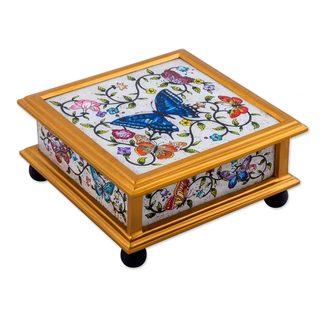 Reverse Painted Glass Decorative Box, 'Winter Butterflies in Ivory' (Peru)
