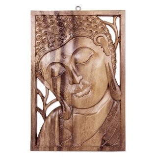 Handmade Wood Relief Panel, 'Young Buddha' (Indonesia)
