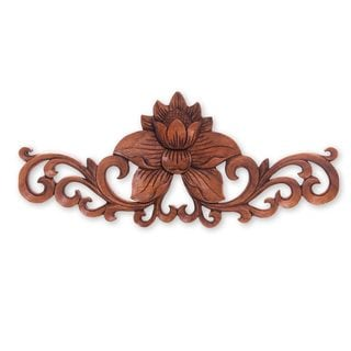 Wood Relief Panel, 'Single Lotus' (Indonesia)