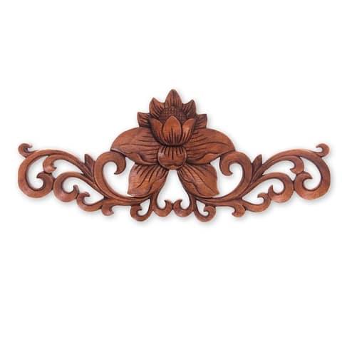 "Wood Relief Panel, 'Single Lotus' (Indonesia) - 12"" x 23"" x 4"""