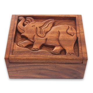 Handmade Wood Decorative Box, 'Furious Elephant' (Indonesia)