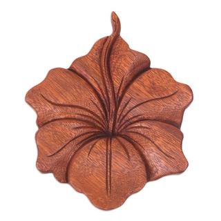 Wood Relief Panel, 'Single Hibiscus' (Indonesia)