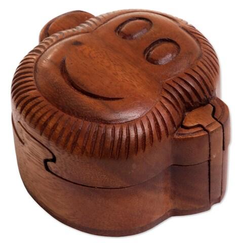Handmade Wood Puzzle Box, 'Happy Monkey' (Indonesia)