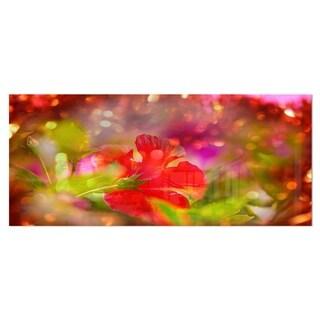 Designart 'Beautiful Red Rural Summer Flowers' Floral Aluminium Art Print