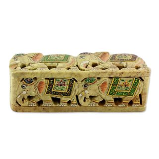 Handmade Soapstone Box, 'The King's Elephants' (India)