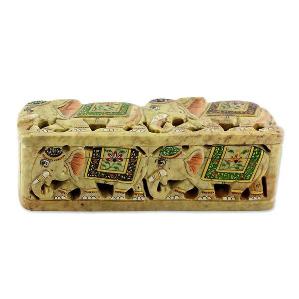 Handmade Soapstone Box, 'The King's Elephants' (India)