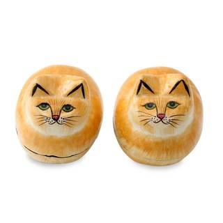 Pair of 2 Papier Mache Boxes, 'Charismatic Cats' (India)
