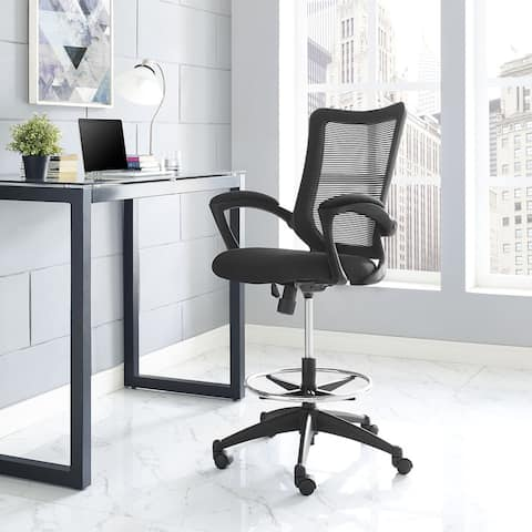 Modway Chrome and Black Nylon Project Drafting Chair