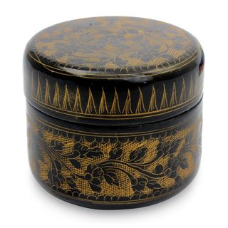 Handmade Lacquered Wood Box, 'Exotic Golden Flora' (Thailand)