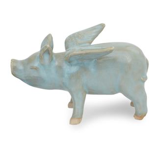 Celadon Ceramic Figurine, 'Flying Blue Pig' (Thailand)