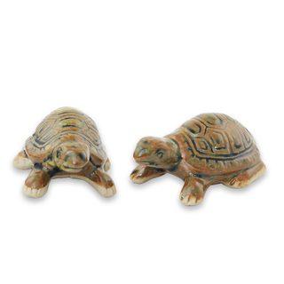 Pair of 2 Ceramic Figurines, 'Resilient Turtles' (Thailand)
