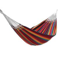 Handmade Cotton Double Hammock, 'Brazilian Rainbow' (Brazil)