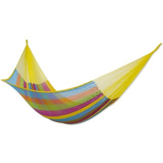 Handmade Cotton Hammock, 'Yucatan Feast' (double) (Mexico)